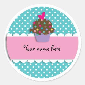 Sticker/Cupcake and Dots Round Sticker