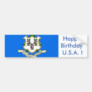 Sticker Flag of Connecticut,Happy Birthday U.S.A.! Bumper Sticker