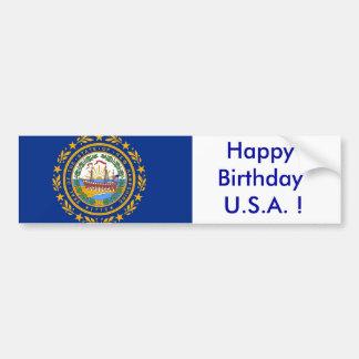 Sticker Flag of  New Hampshire Bumper Sticker