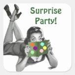 Sticker Fun Retro Lady Reading-card Surprise Party