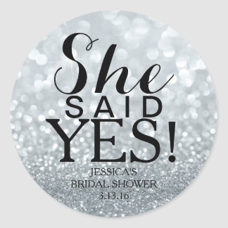 Sticker | Glit Bridal Shower - She Said Yes! Silv