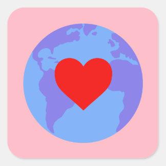 Sticker - globe with heart, pink background