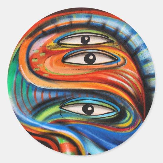 Sticker: Graffiti Eyes Classic Round Sticker