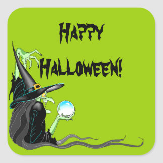 Sticker Happy Halloween Witch Crystal Ball Spooky