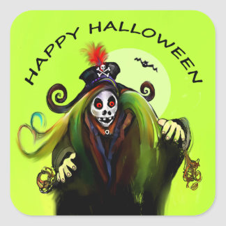 Sticker - Happy Halloween Zombie under Moon Green