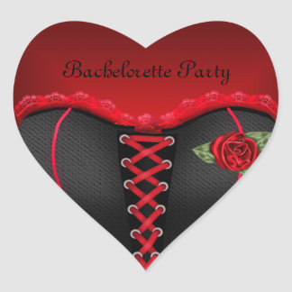 Sticker Heart Bachelorette Party Black Red Corset
