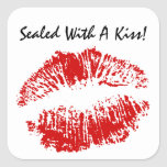 Sticker Letter Seal Sealed With A Kiss Lips Square