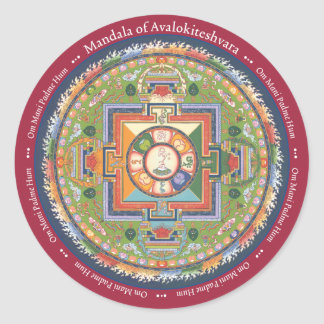 STICKER Mandala of Chenrezig - with Mantra
