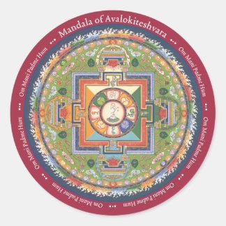 STICKER Mandala of Chenrezig - with Mantra