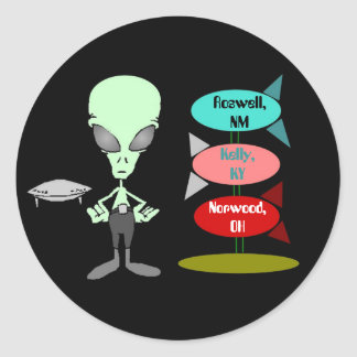 Sticker Mid-century Alien UFO Hotspot Rocket Sign