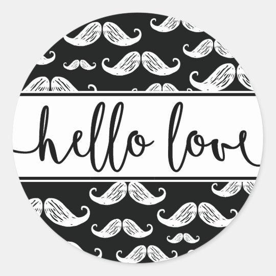 STICKER | Modern Moustache Script Baby Boy Birth