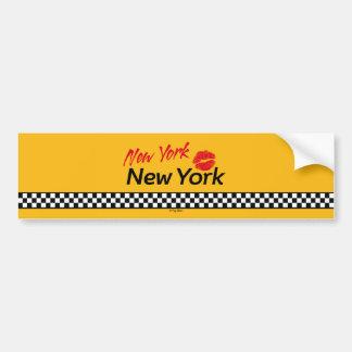 Sticker of car Taxi NY & Red KIS Bumper Sticker