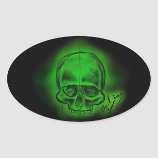 Sticker of the Green skull sketch style