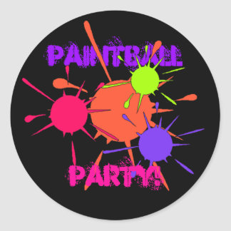 Sticker Paintball Party Colorful Splatters Paint