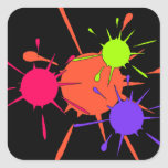 Sticker Paintball Party Colourful Splatters Paint