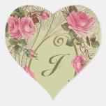 Sticker Personalised Antique Rose Hearts Monogram