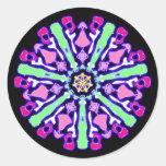 Sticker psychédélique coloré n°3 autocollant rond