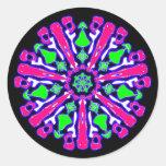 Sticker psychédélique coloré n°4 adhésifs ronds