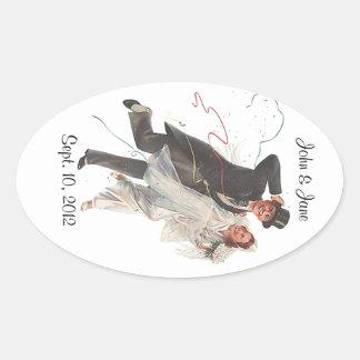 Sticker Retro Bride Groom Personalized Stickers
