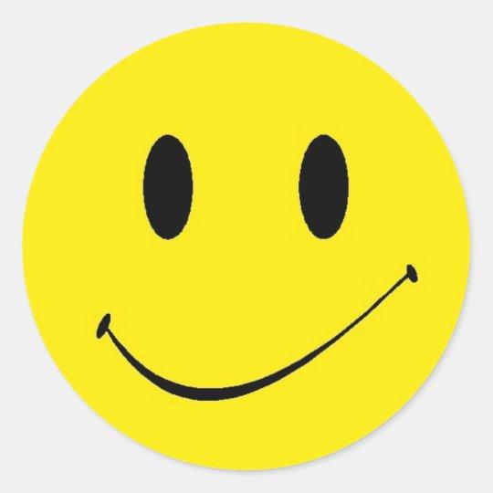 Sticker Retro Fun Yellow Smiley Happy Face Symbol