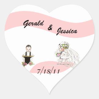 Sticker Retro Marriage Wedding Heart Date Ceremony