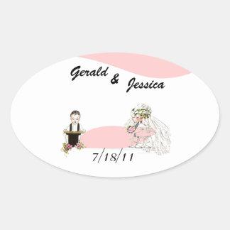 Sticker Retro Marriage Wedding Oval Date Ceremony