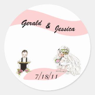 Sticker Retro Marriage Wedding Round Date Ceremony