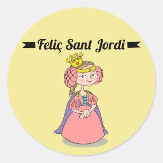 Sticker, Rodona Feliç Sant Jordi 3 Classic Round Sticker