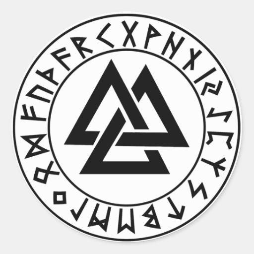 sticker round Tri-Triangle Rune Shield
