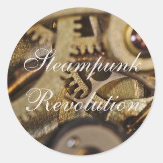 Sticker: Steampunk Revolution. Watch Mechanism Round Sticker