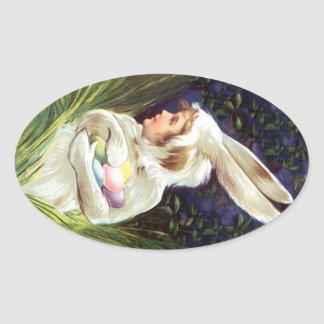 Sticker Sweet Antique child Easter bunny Costume Oval Sticker