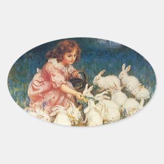 Sticker Sweet Antique child feeding pet rabbits