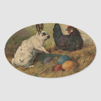 Sticker Sweet Antique Easter Bunny eggs chickens Oval Sticker