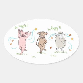 Sticker vegan: pig, cow and sheep