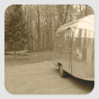 Sticker Vintage 1950s Tin Can Travel Trialer Sepia