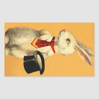 Sticker Vintage Anthro Magic Hat Trick Rabbit Hare
