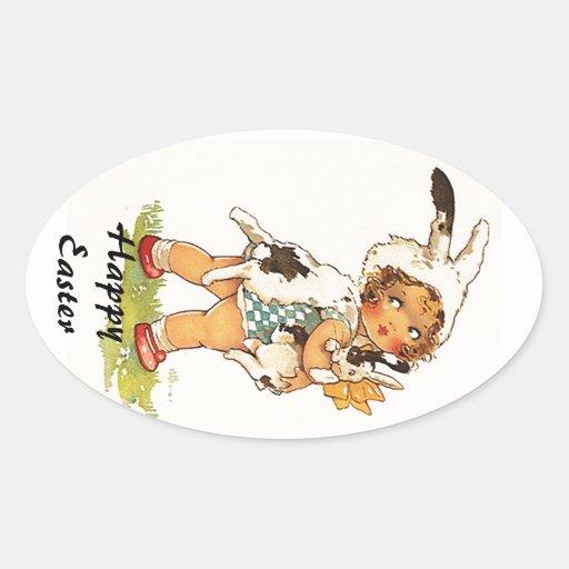 Sticker Vintage Antique Cute Easter Bunny Suit