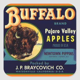 Sticker Vintage Buffalo Brand Apples Produce Fruit
