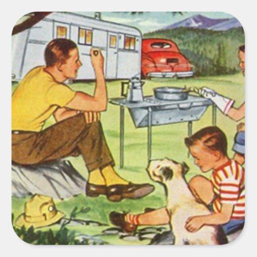 STICKER Vintage camper tin travel trailer Squares