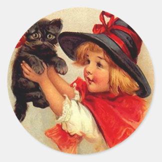 Sticker Vintage Halloween Black Kitten Lil Witch