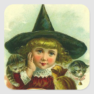 Sticker Vintage Halloween Witch Girl Kittens Cat