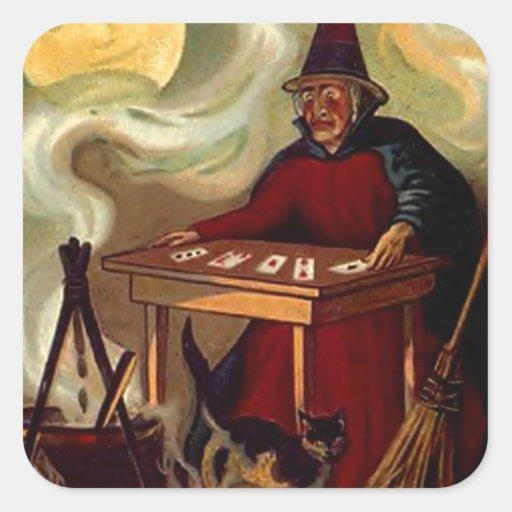 Sticker Vintage Halloween Witch Tarot Black Cat