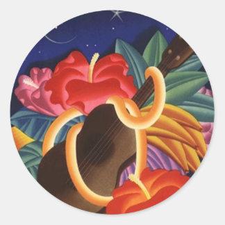 Sticker Vintage Hawaiian Ukulele Tiki Night Travel