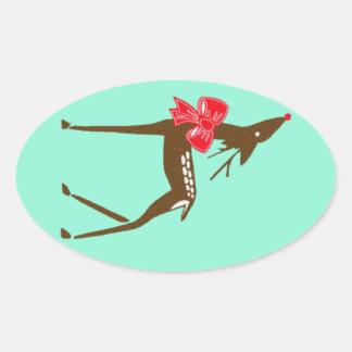Sticker Vintage Holiday Art Deco Reindeer Squash