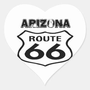 Sticker Vintage Route 66 Worn State Arizona Heart