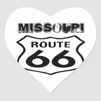 Sticker Vintage Route 66 Worn State Missouri Heart