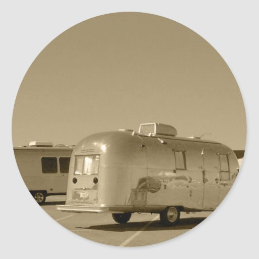 Sticker Vintage Tin Can Travel Trailer Shiny Met