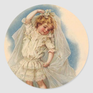 Sticker Vintage Victorian Bride Wedding Gown Dream