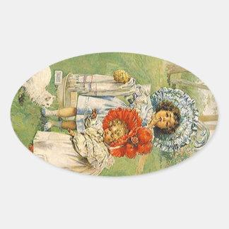Sticker Vintage Victorian Girls Give Kitty A Bath