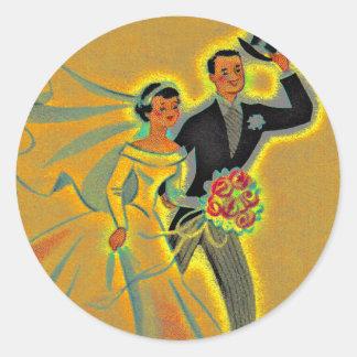 Sticker Vintage Wedding Couple Bride Groom Golden